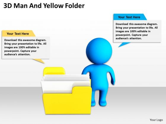 Business Organizational Chart Template 3d Man And Yellow Folder PowerPoint Templates