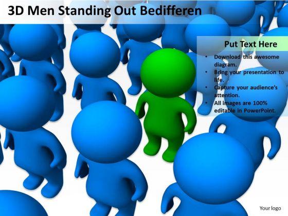 Business Organizational Chart Template 3d Men Standing Out Bedifferen PowerPoint Templates