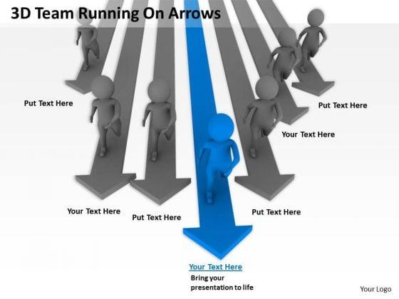 Business Organizational Chart Template 3d Team Running Arrows PowerPoint Templates