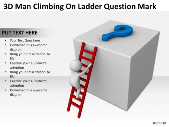 Business People 3d Man Climbing On Ladder Question Mark PowerPoint Templates