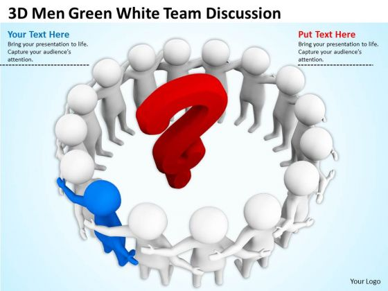 Business People 3d Man Green White Team Discussion PowerPoint Templates