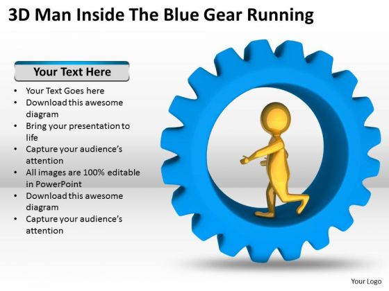 Business People 3d Man Inside The Blue Gear Running PowerPoint Templates