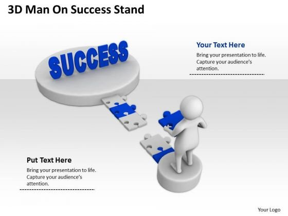 Business People 3d Man On Success Stand PowerPoint Slides