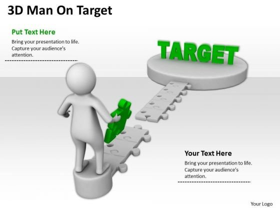 Business People 3d Man On Target PowerPoint Slides