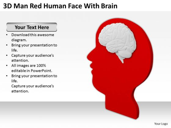 Business People 3d Man Red Human Face With Brain PowerPoint Templates