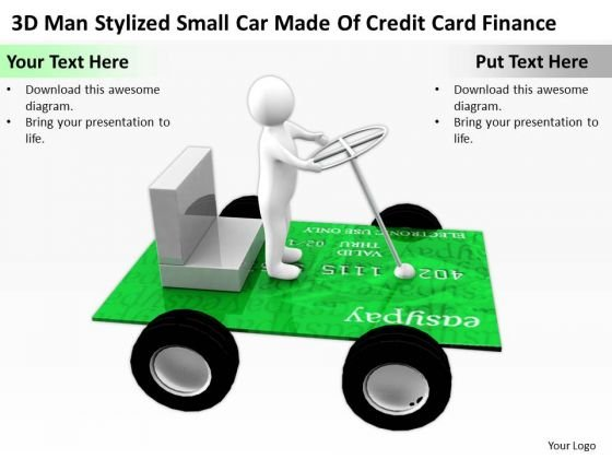 Business People 3d Man Stylized Small Car Made Of Credit Card Finance PowerPoint Templates