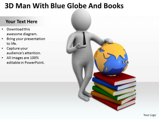 Business People 3d Man With Blue Globe And Books PowerPoint Slides