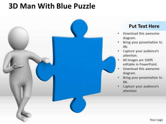 Business People 3d Man With Blue Puzzle PowerPoint Slides