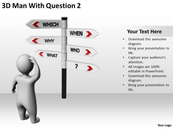 Business People 3d Man With Question 2 PowerPoint Templates Ppt Backgrounds For Slides