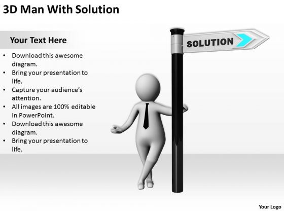 Business People 3d Man With Solution PowerPoint Templates Ppt Backgrounds For Slides