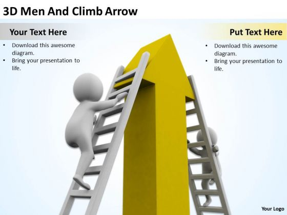 Business People 3d Men And Climb Arrow PowerPoint Templates Ppt Backgrounds For Slides