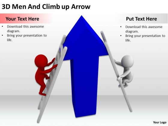 Business People 3d Men And Climb Up Arrow PowerPoint Templates Ppt Backgrounds For Slides