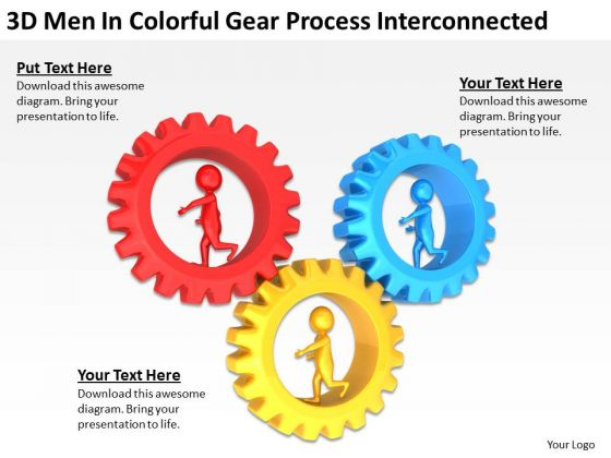 Business People 3d Men Colorful Gear Process Interconnected PowerPoint Templates
