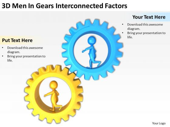 Business People 3d Men Gears Interconnected Factors PowerPoint Templates