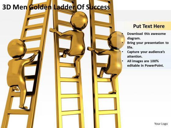 Business People 3d Men Golden Ladder Of Success PowerPoint Templates Ppt Backgrounds For Slides