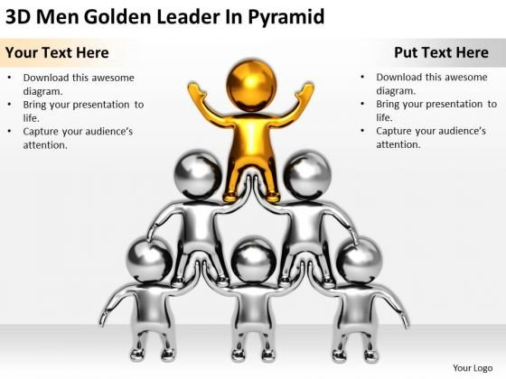Business People 3d Men Golden Leader Pyramid PowerPoint Slides