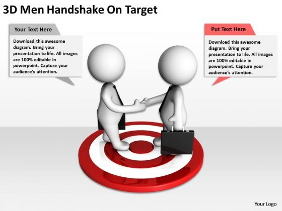 Business People 3d Men Handshake On Target PowerPoint Slides