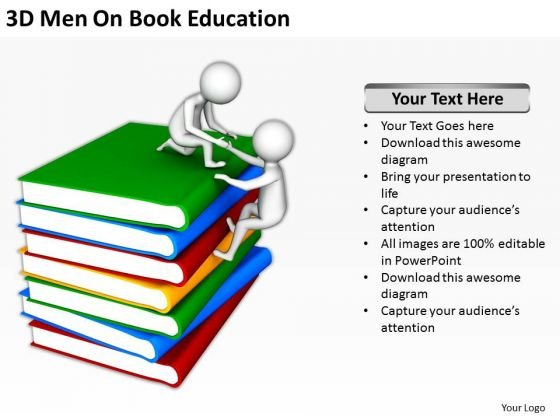 Business People 3d Men On Book Education PowerPoint Templates Ppt Backgrounds For Slides