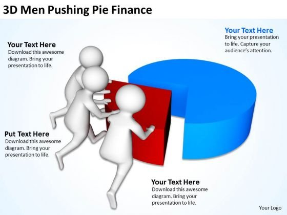 Business People 3d Men Pushing Pie Finance PowerPoint Slides