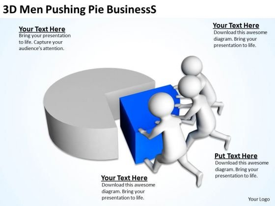 Business People 3d Men Pushing Pie World PowerPoint Templates Slides