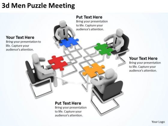 Business People 3d Men Puzzle Meeting PowerPoint Slides