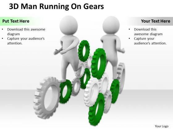 Business People 3d Men Running On Gears PowerPoint Slides