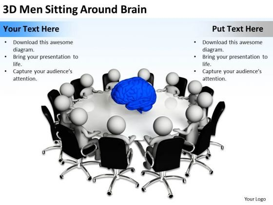 Business People 3d Men Sitting Around Brain PowerPoint Slides