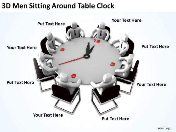 Business People 3d Men Sitting Around Table Clock PowerPoint Slides