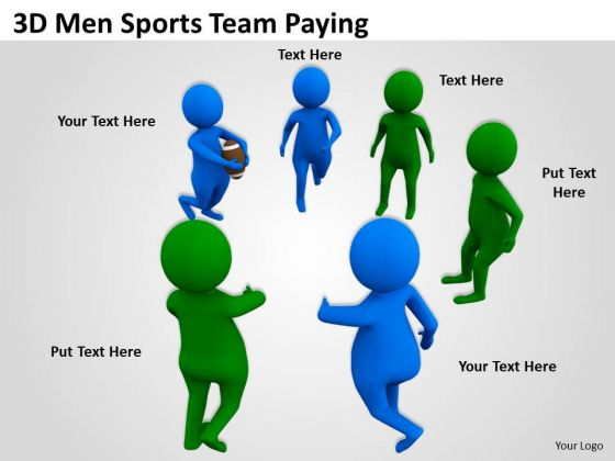 Business People 3d Men Sports Team Paying PowerPoint Slides