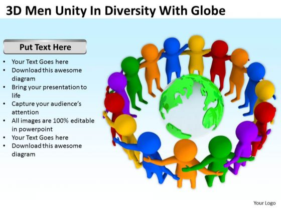 Business People 3d Men Unity Diversity With Globe PowerPoint Templates