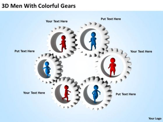 Business People 3d Men With Colorful Gears PowerPoint Templates Ppt Backgrounds For Slides