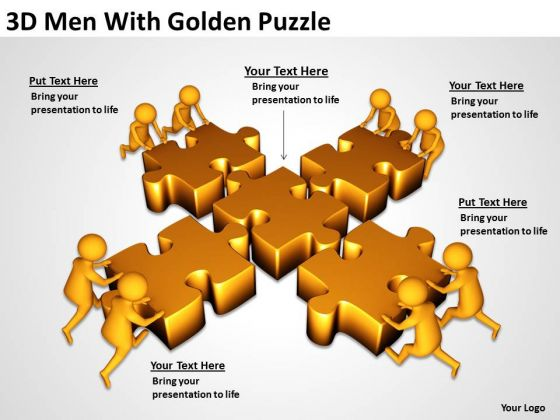 Business People 3d Men With Golden Puzzle PowerPoint Templates Ppt Backgrounds For Slides