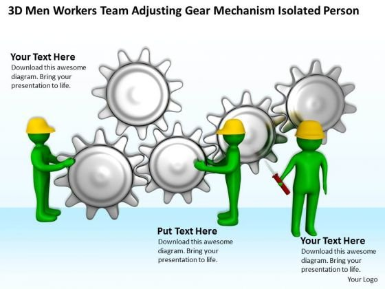Business People 3d Men Workers Team Adjusting Gear Mechanism Isolated Person PowerPoint Templates