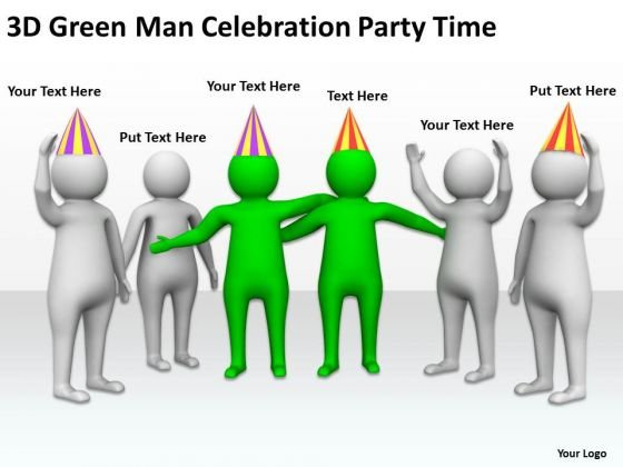 Business People Clip Art 3d Green Man Celebration Party Time PowerPoint Templates