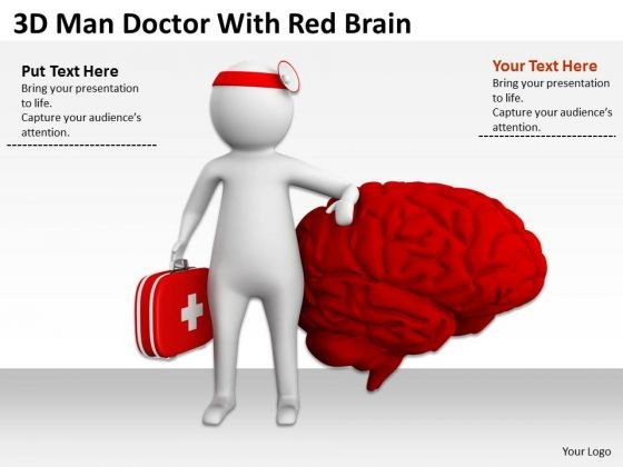 Business People Clip Art 3d Man Doctor With Red Brain PowerPoint Slides