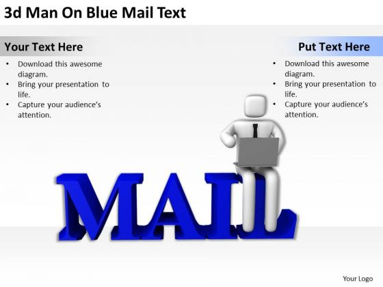 Business People Clip Art 3d Man On Blue Mail Text PowerPoint Templates Ppt Backgrounds For Slides