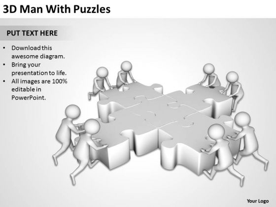 Business People Clip Art 3d Man With Puzzles PowerPoint Slides