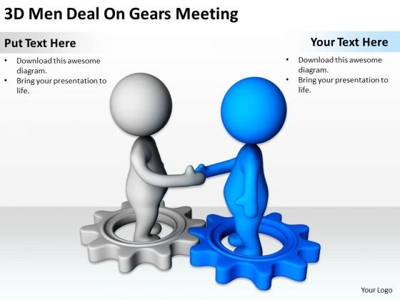 Business People Clip Art 3d Men Deal On Gears Meeting PowerPoint Slides