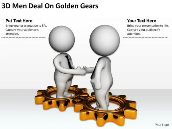 Business People Clip Art 3d Men Deal On Golden Gears PowerPoint Slides