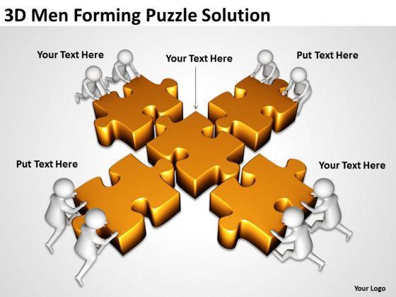 Business People Clip Art 3d Men Forming Puzzle Solution PowerPoint Slides