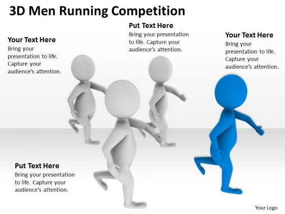 Business People Clip Art 3d Men Running Competition PowerPoint Slides