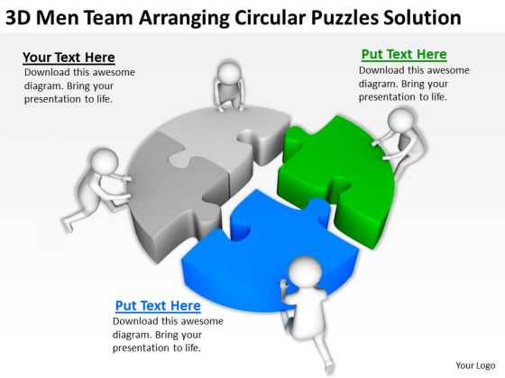Business People Clip Art 3d Men Team Arranging Circular Puzzles Solution PowerPoint Slides