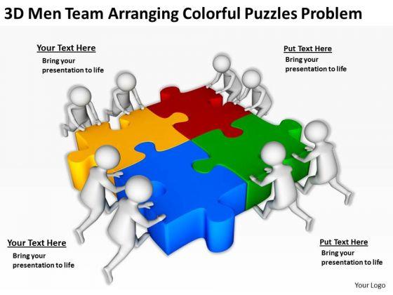 Business People Clip Art 3d Men Team Arranging Colorful Puzzles Problem PowerPoint Slides