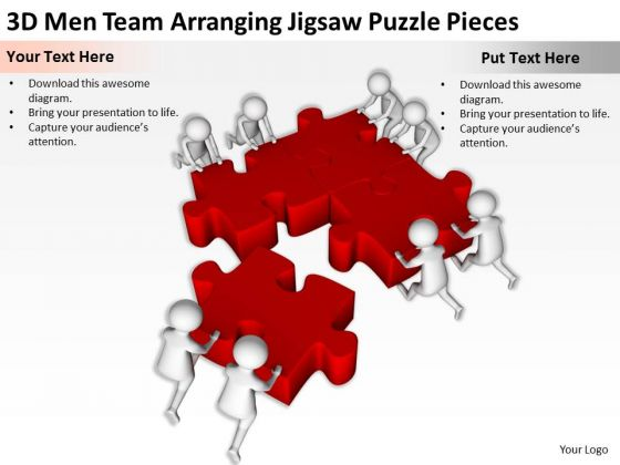 Business People Clip Art 3d Men Team Arranging Jigsaw Puzzle Pieces PowerPoint Slides