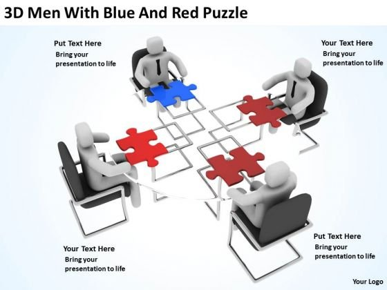 Business People Clip Art 3d Men With Blue And Red Puzzle PowerPoint Slides