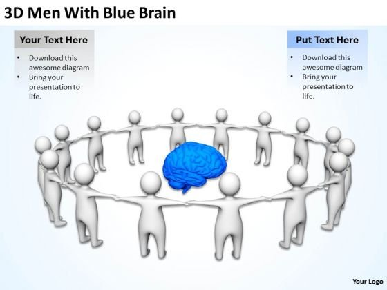 Business People Clip Art 3d Men With Blue Brain PowerPoint Slides