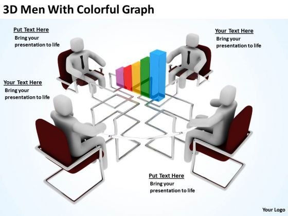 Business People Clip Art 3d Men With Colorful Graph PowerPoint Slides