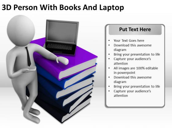 Business People Clip Art 3d Person With Books And Laptop PowerPoint Slides