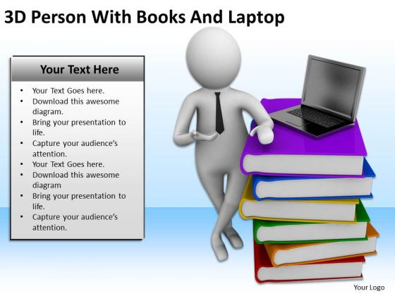 Business People Clip Art 3d Person With Stack Of Books And Laptop PowerPoint Slides