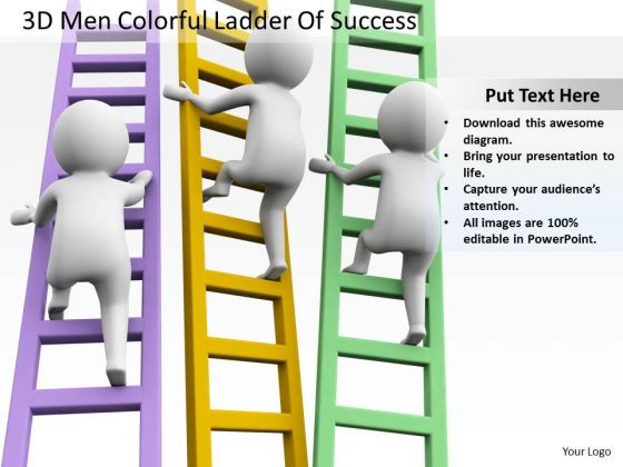 Business People Clip Art Colorful Ladder Of Success PowerPoint Templates Ppt Backgrounds For Slides
